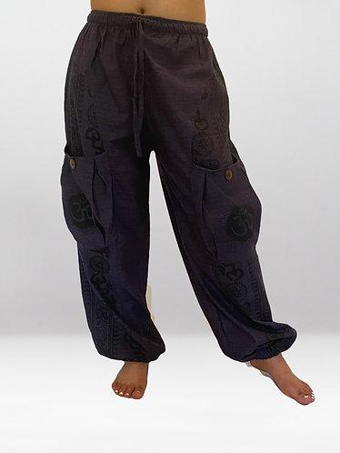 Grey Drawstring Cotton Pant with Om Print