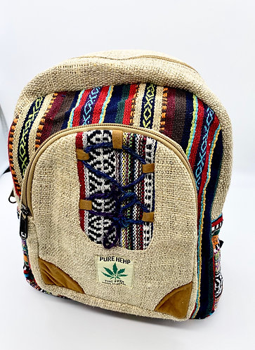 Handmade Eco Friendly  Mini Hemp Back Pack with Embroidery