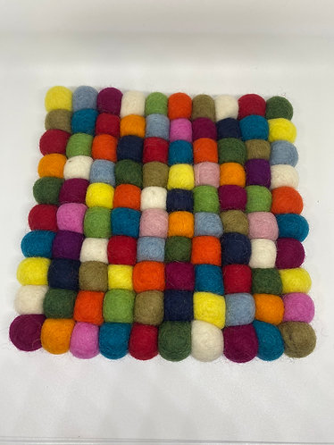 Handcrafted Felt Ball Square Trivet