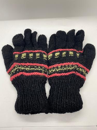 Hand Knit 100% Merino Wool  Multi Color Gloves , Fleece Lined Nepalese Winter Gl