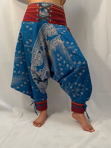 Cotton Harem Pants with Ankle Straps