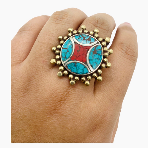 Statement Turquoise Rings/Multi Stone Rings/Vintage Rings/Authentic Rings/Coral