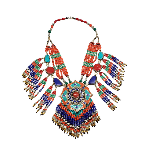 Vintage Chunky Necklace, Tribal Fusion Neckpiece