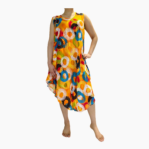 Summer  Spiral Printed Rayon Dress