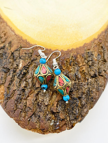 Handmade Vintage Turquoise Earring from Nepal