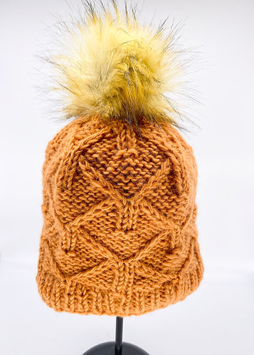 Hand Knitted Fleece Lined Wool Hat with  Brown Faux Pompom from Nepal