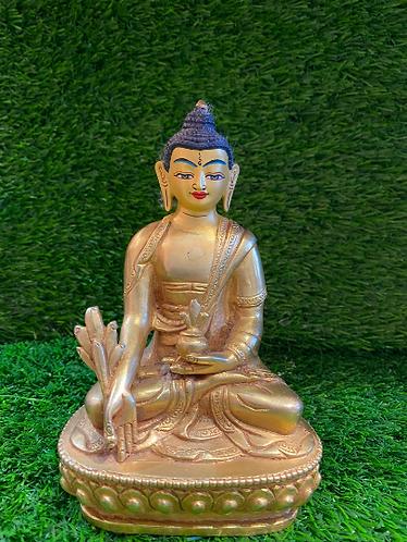 "Handmade 6"" Gold Plated (5 metal mix body) Healing Buddha from Nepal,24k Gold Pl"