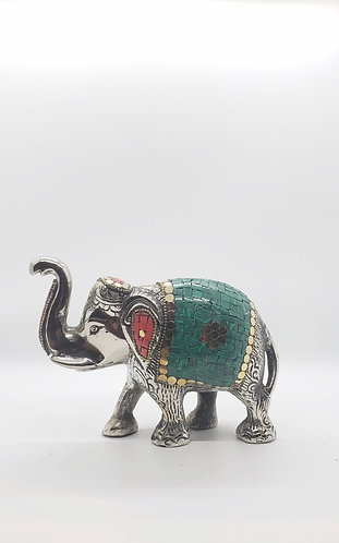 Handmade Metal Elephant with Malachite and coral