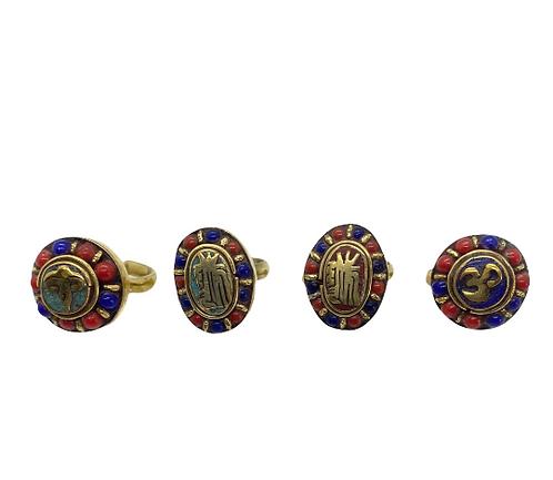 Handmade Multistone Healing Mantsr/OM/Buddha Eye Ring from Nepal,Turquoise/Coral