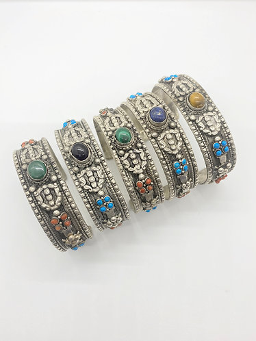 Handcarved Dorje/Vajra  Tribal Fusion Metal Bracelet with Gemstone