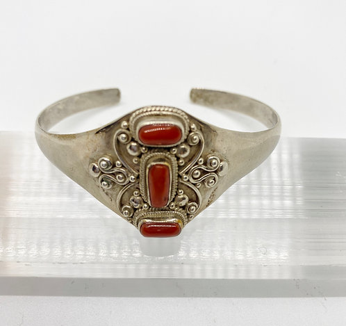 Handcarved Coral Bracelet in Sterling Silver from Nepal