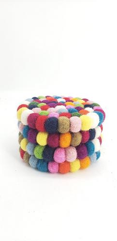 Handmade Felt  Ball Wool Coasters from Nepal, Circle Felt Coasters, Square Felt