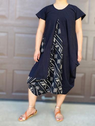 Black Organic Cotton Short Sleeve Casual Dress