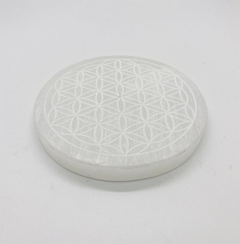 Selenite Incense Holder Round with Flower of Life