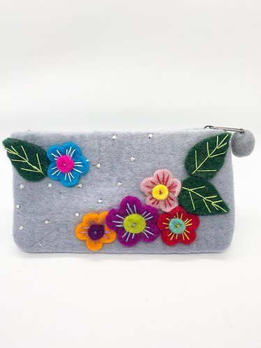 Handmade MultiFlower Felt Purse with Zipper