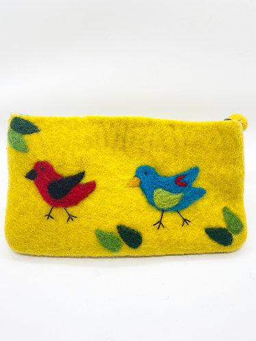 Handmade Felt Bird Purse with Zipper