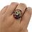 Thumbnail: Handmade Multistone Healing Mantsr/OM/Buddha Eye Ring from Nepal,Turquoise/Coral