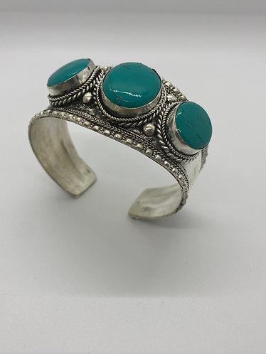 Ethnic  Handmade Turquoise Metal Cuff  Bracelet