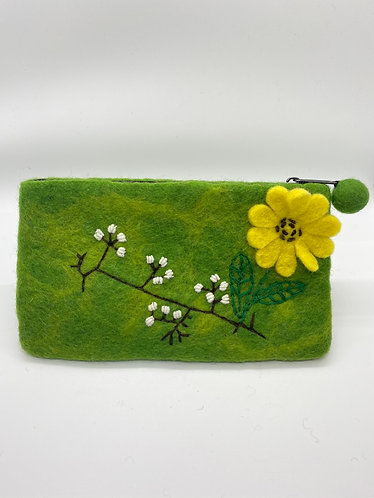 Handmade Sunflower Felt Purse with Zipper