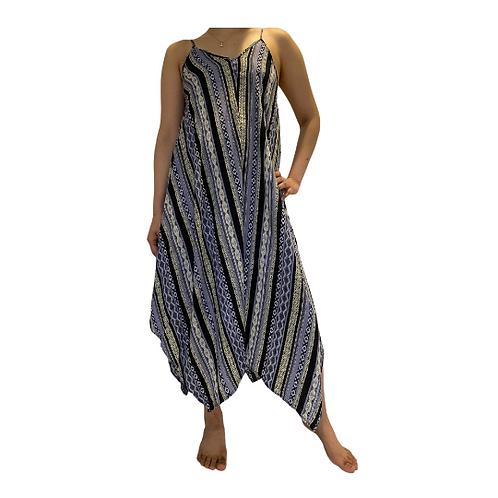 Summer Rayon Dress/Sun Dress/Bohemian Dress/Printed Black Adjustable ShoulderTie