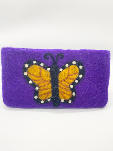 Handmade Butterfly Felt Purse with Zipper