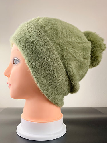 Beanie Faux Fur Pompom  Hat with Fleece Lining