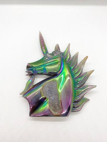 Handcarved Rainbow Aura Unicorn