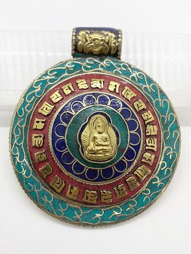 Ethnic Handmade Buddha Pendant with Mantra of Compassion