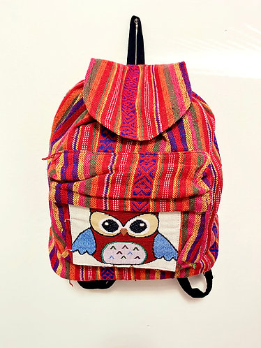 Handmade Multi Color Owl Mini Back Pack