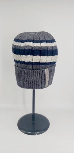 Handknit Multi Stripe Fleece Lined Hat, Winter Hats, Unisex Fleece Lined Hat, Sk