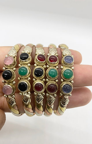 Multi Stone Handmade Copper Cuff Bracelet