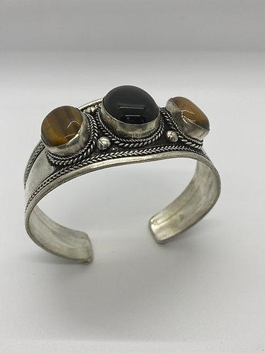 Ethnic Handmade Tiger eye/ Onyx  Metal Cuff  Bracelet