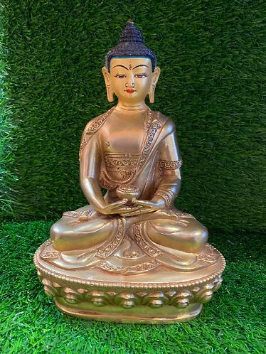Handmade 24k Gold Plated Meditation Buddha from Nepal, Tibetan Amitayus Amitabha