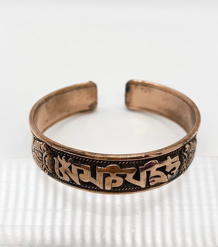 Handmade Copper Bracelet with Budhhist Healing Mantra