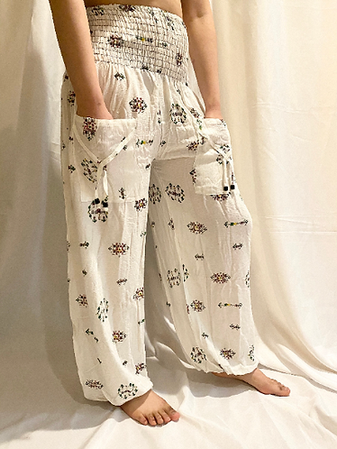 Flowy Yoga Pants with Pocket, Floral Print High waisted Pants