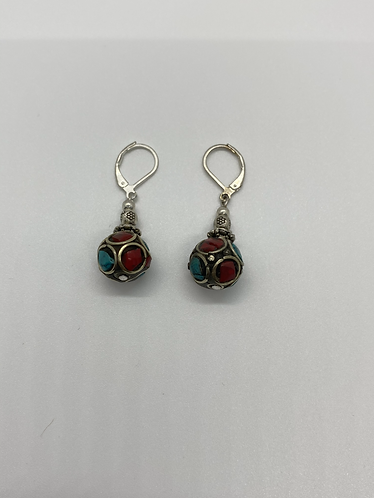 Nepali Turquoise and Coral Earring