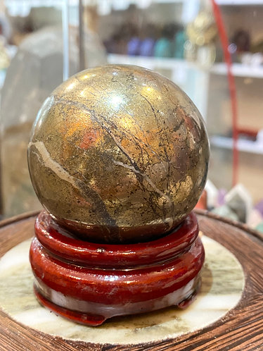 Pyrite Crystal Ball (56 mm) with Wooden Stand