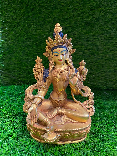 Handmade Gold Plated Green Tara Statue from Nepal, Gold Plated goddess of Compas