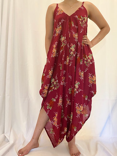 Red Loose Fit Bohemian Jumpsuit