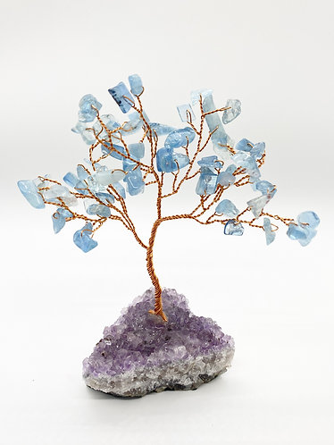 Aquamarine Prosperity/Feng Shui Bonsai Tree with Amethyst Base