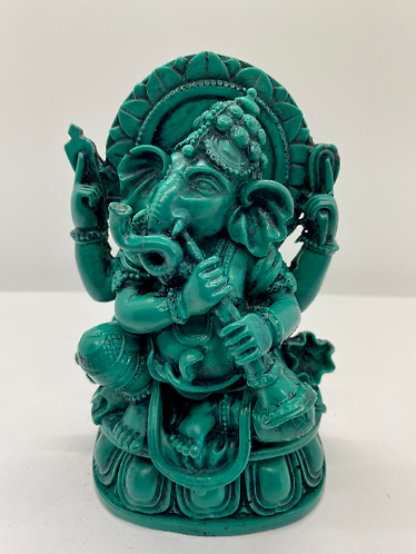 Handcarved Green Ganesh/Ganesha Statue, Resin Ganesh,Sitting Ganesh, Sitting Gan