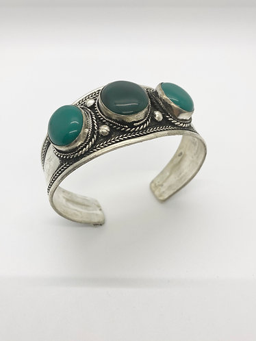 Ethnic Handmade Light/Dark Green Jade Cuff Metal Bracelet