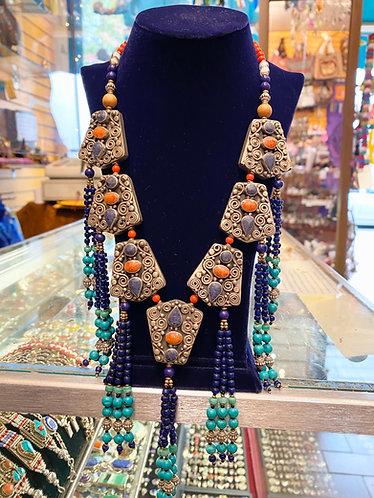 Boho Style Ethnic Tibetan Tribal Fusion Handmade Necklace