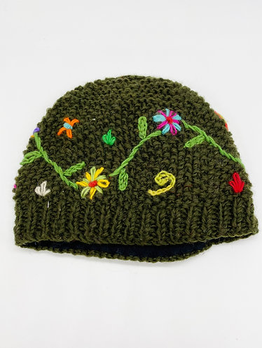 Hand Knit Wool Hat with Fleece Lining from Nepal