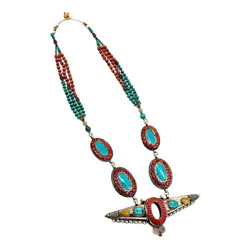 Vintage Turquoise/Coral Necklace, Tribal Fusion Neckpiece