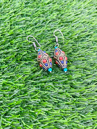 Handmade Natural Gemstones/ Turquoise/Coral/Lapis Lazuli Earring from Nepal