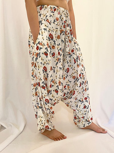 Low Crotch/Harem Pants with Flower Prints