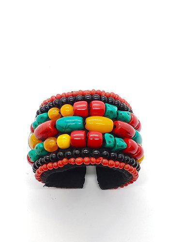 Handstitched Turquoise/coral/Amber Bracelet