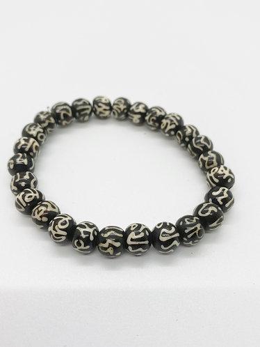 Handmade Yak Bone Prayer Beads Bracelet with Om Symbol