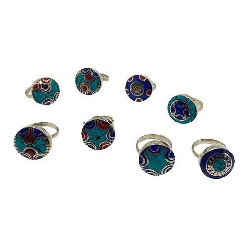 Ethnic Tibetan Tribal Fusion Rings/Multistone Round Rings/Turquoise/Coral/Lapis